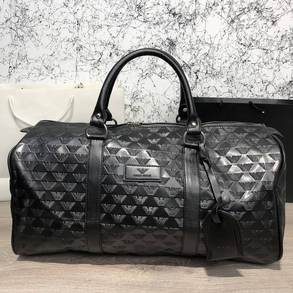 Softsided Luggage Emporio Armani All Over Logo Print Black