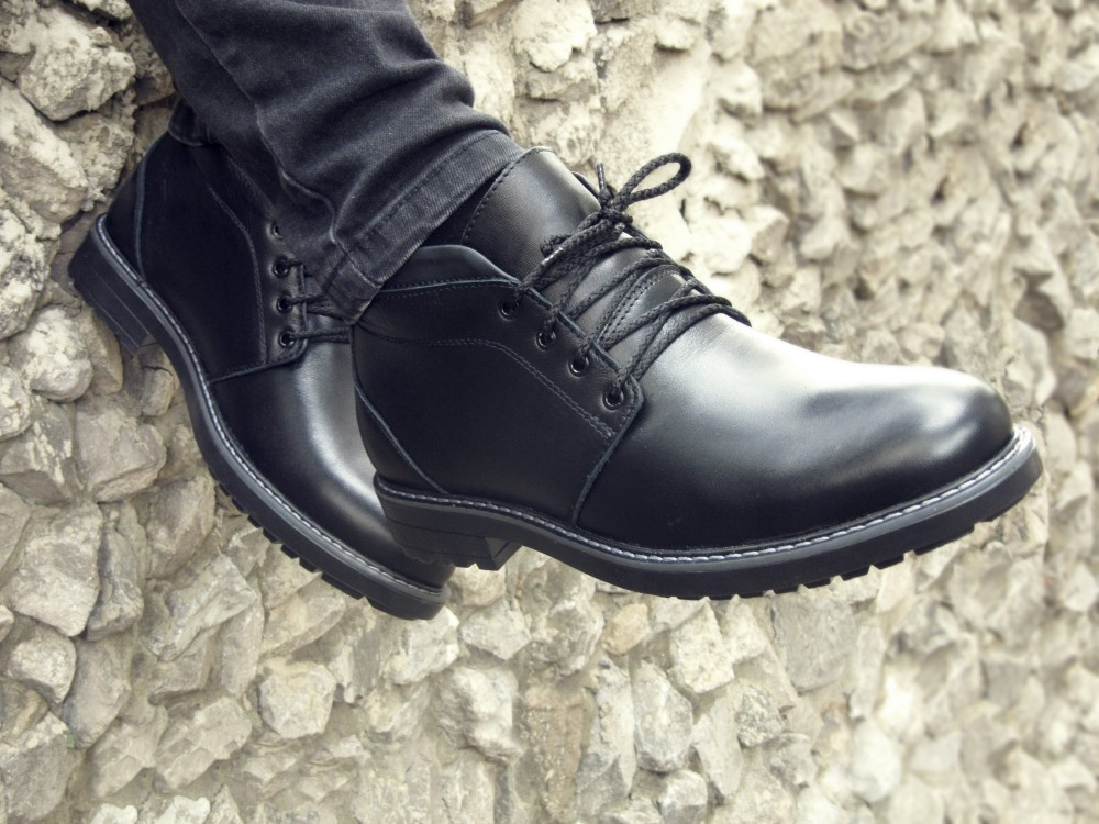 Мужские черные кожаные ботинки 4