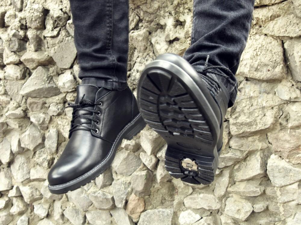 Мужские черные кожаные ботинки 5