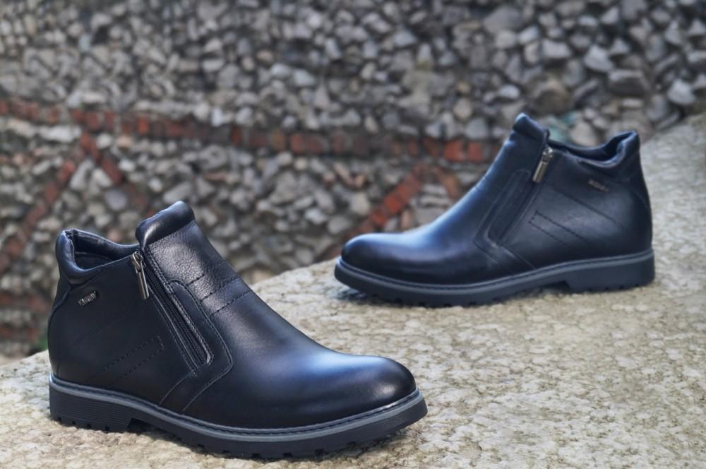 Мужские черные кожаные ботинки V1
